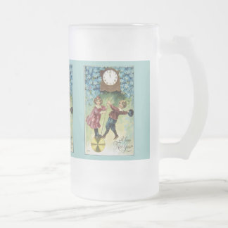 Vintage Clock Turns Midnight Frosted Glass Beer Mug