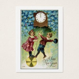 Vintage Clock Turns Midnight Gift Tag