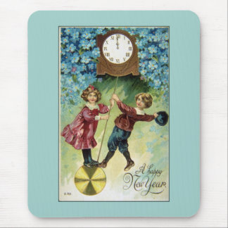 Vintage Clock Turns Midnight Mouse Pads