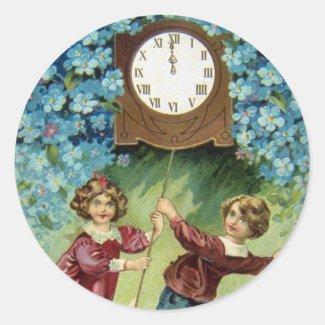 Vintage Clock Turns Midnight Stickers