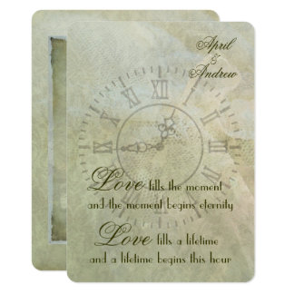 Vintage Clock Wedding Invitation