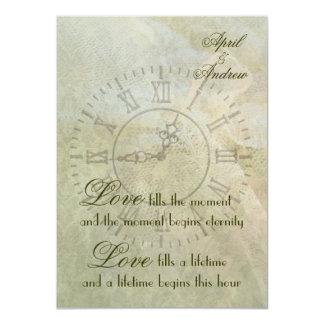 Vintage Clock Wedding Invitation
