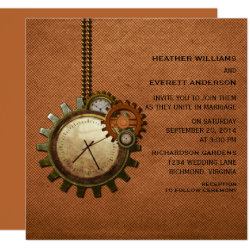 Vintage Clock Wedding Invitation, Copper Card