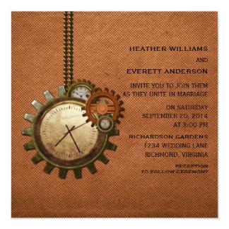 Vintage Clock Wedding Invitation, Copper Invitation