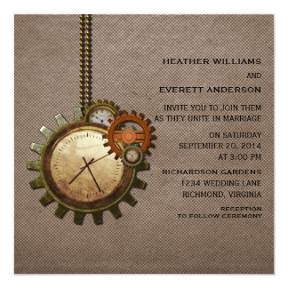 Vintage Clock Wedding Invitation, Mocha Card