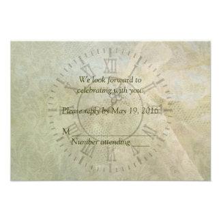 Vintage Clock Wedding RSVP Invite