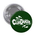 Vintage Clog Dancer Clogging White Button
