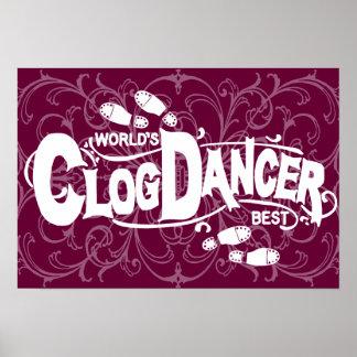 Vintage Clog Dancer Clogging White Print