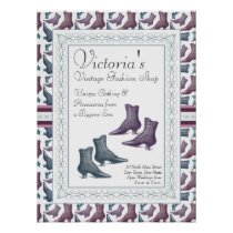 Vintage Clothing Shop Victorian Boots Poster