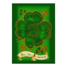 Vintage Clover St. Patrick's Day Party Invitation at Zazzle