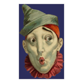 Vintage Clown Face Poster