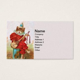 Vintage Clown Jester Musician Cat Mandolin Business Card