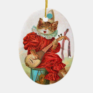 Vintage Clown Jester Musician Cat Mandolin Ceramic Ornament