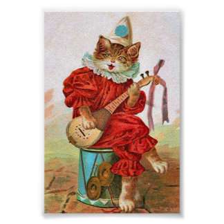 Vintage Clown Jester Musician Cat Mandolin Poster
