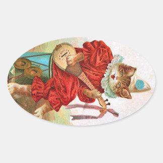 Vintage Clown Jester Musician Cat Mandolin Oval Sticker