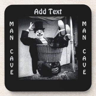 Vintage Clown Photograph Man Cave Square Coaster