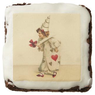 Vintage Clown Valentine's Day Square Brownie