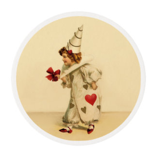 Vintage Clown Valentine's Day Edible Frosting Rounds