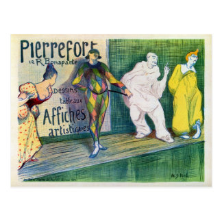 Vintage clowns theme French art gallery ad Postcard