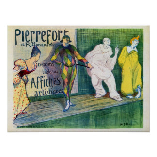 Vintage clowns theme French art gallery ad Poster