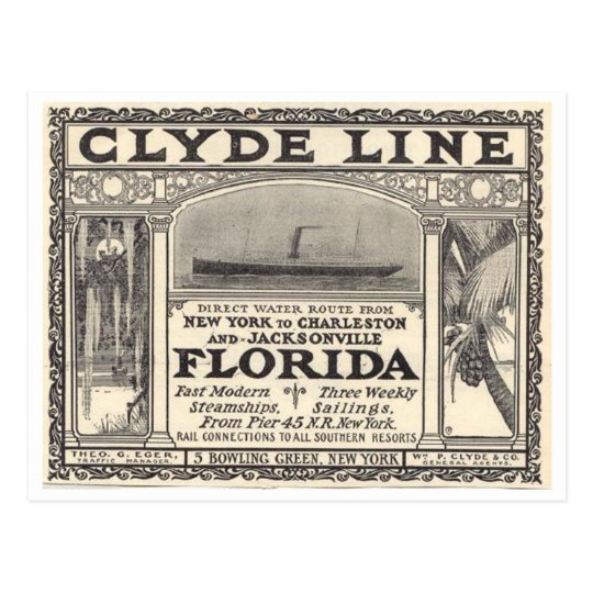 Vintage Clyde Line Florida Steamship Ad Postcard