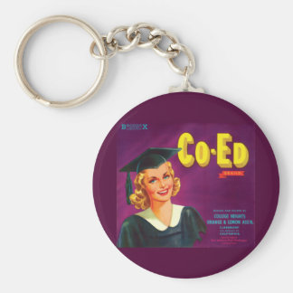 Vintage Co-Ed Orange & Lemon Label Keychain