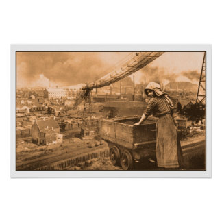 Vintage coal mining photo poster