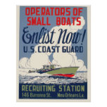 Vintage Coast Guard Enlist Now Boats WPA Poster