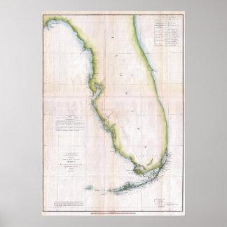 Vintage Coast of Florida Survey Map Poster