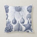 Vintage Coastal Blue and WHite Illustration pillow