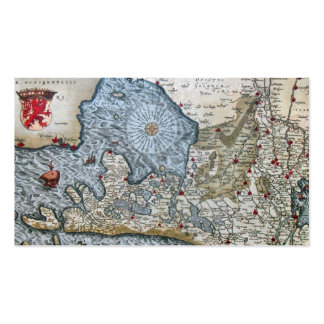 Vintage coastal map of Holland bookmark Business Card