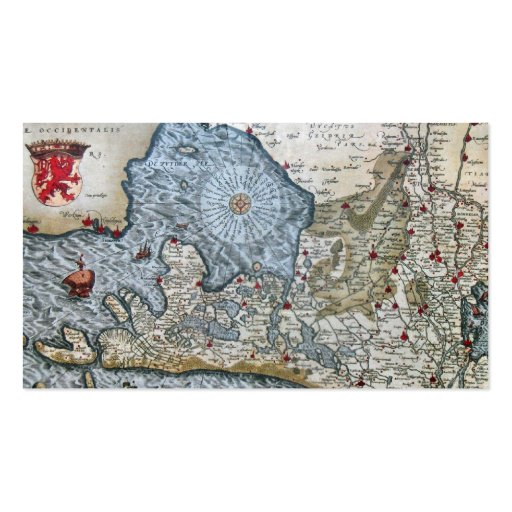 Vintage coastal map of Holland bookmark Double-Sided Standard Business Cards (Pack Of 100)