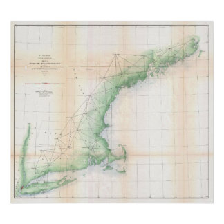 Vintage Coastal Map of New England (1864) Poster