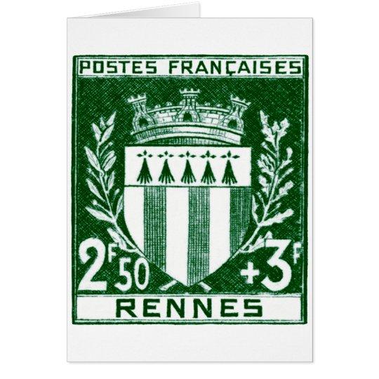 Vintage Coat of Arms Rennes, France Card