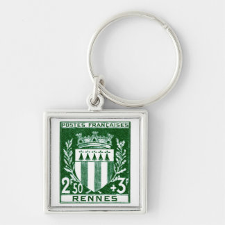 Vintage Coat of Arms Rennes, France Keychain