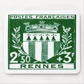 Vintage Coat of Arms Rennes, France Mouse Pads
