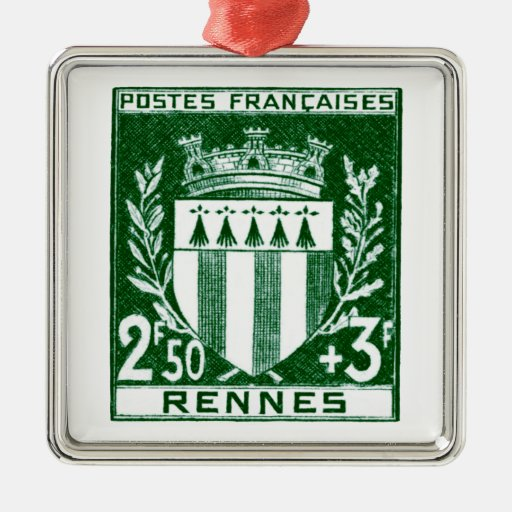 Vintage Coat of Arms Rennes, France Square Metal Christmas Ornament