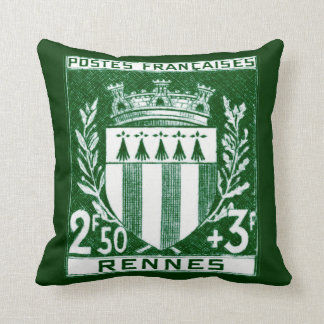Vintage Coat of Arms Rennes, France Throw Pillow