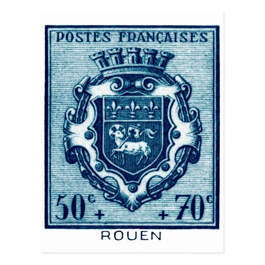 Vintage Coat of Arms Rouen, France Postcard