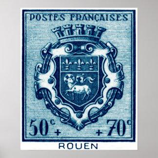 Vintage Coat of Arms Rouen, France Poster