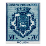 Vintage Coat of Arms Rouen, France Posters