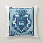 Vintage Coat of Arms Rouen, France Throw Pillows