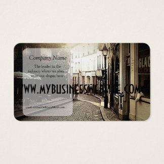 Vintage Cobblestone Cafe With ivy Business Card