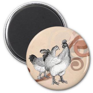 Vintage Cochin Chickens 2 Inch Round Magnet