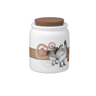 Vintage Cochin Chickens Candy Jar