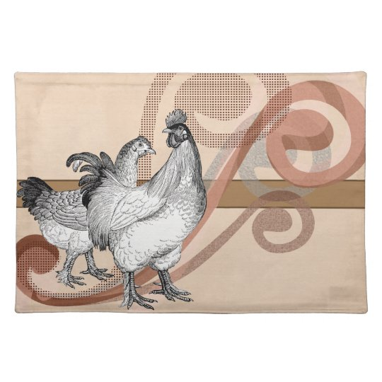 Vintage Cochin Chickens Cloth Placemat