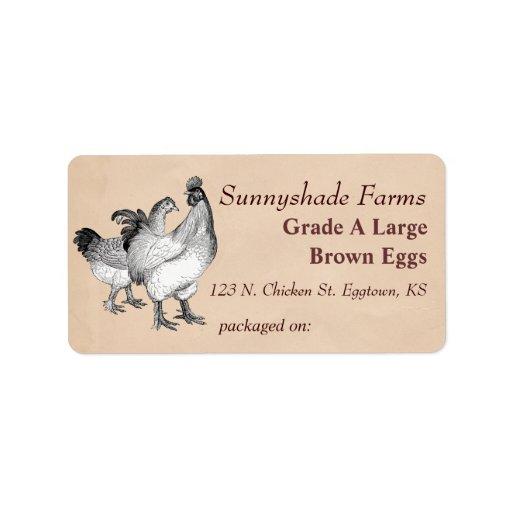 Vintage cochin chickens egg carton label zazzle for Egg carton labels template