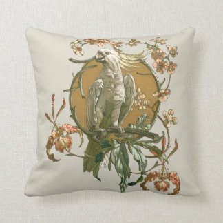 Vintage Cockatoo with a Tropical Orchid Flower Throw Pillow