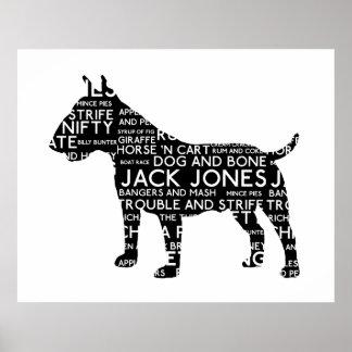 Vintage Cockney London Slang Bull Terrier Poster