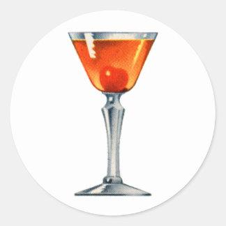 Vintage Cocktail Booze Drink Manhattan Classic Round Sticker